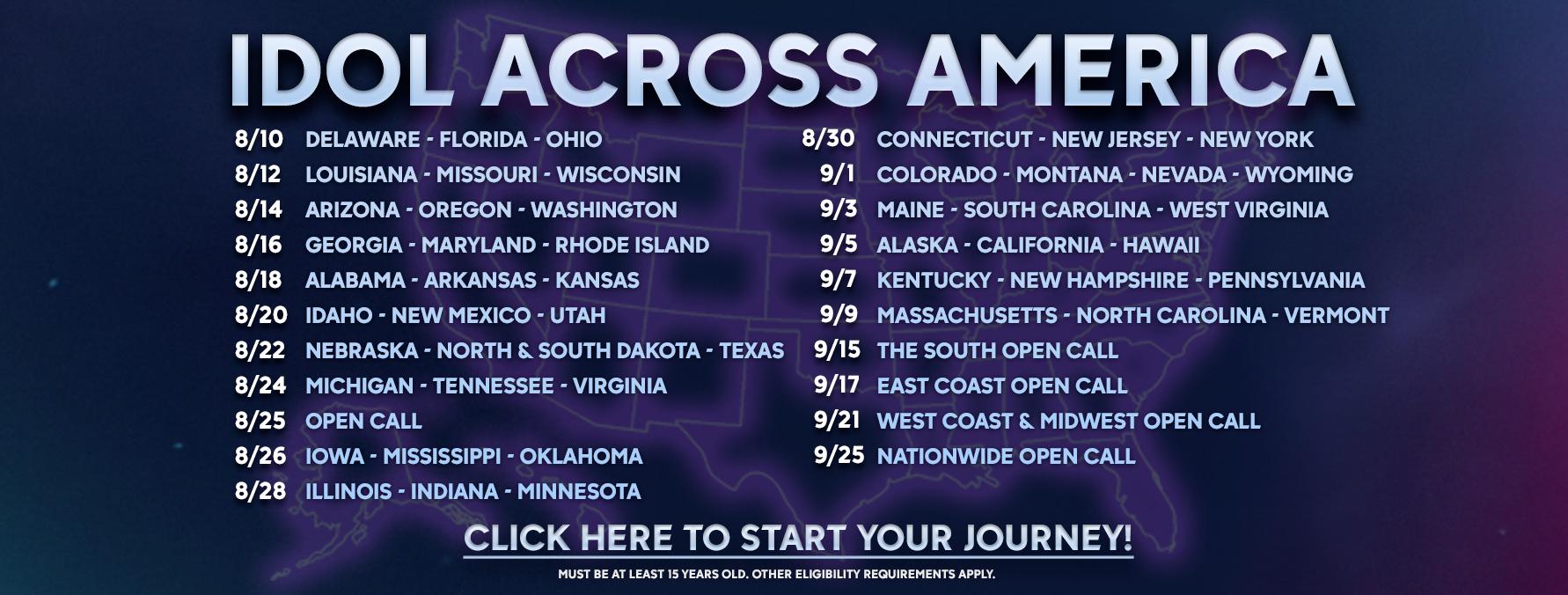 American Idol - Idol Across America Schedule